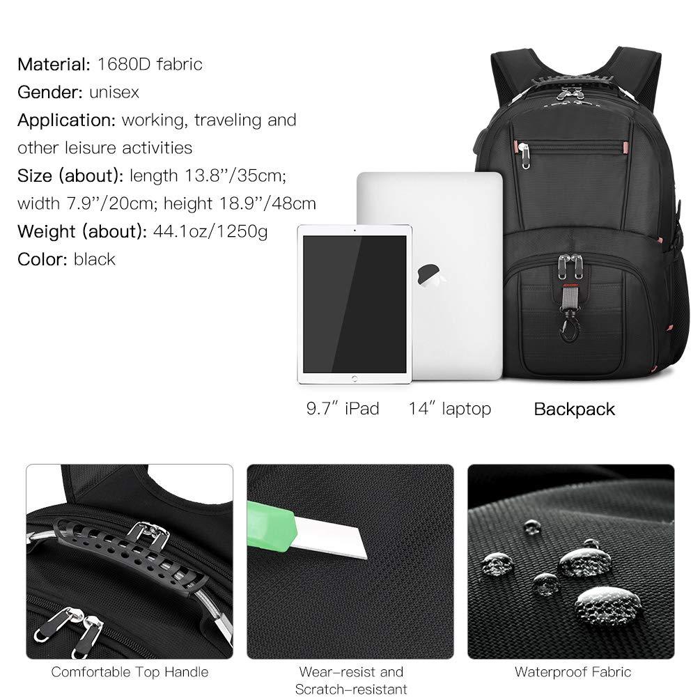Sac à Dos Ordinateur Portable 17.3 Pouces Sac à Dos Voyage Grande Capacité Étanche avec USB Port (Noir)