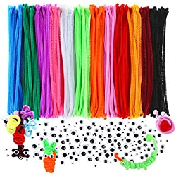 Caydo 640 Pieces DIY Pipe Cleaners Set, Including 240 Pcs 12 Colors Chenille Stems and 400 Pcs 4 Size Wiggle Googly Eyes