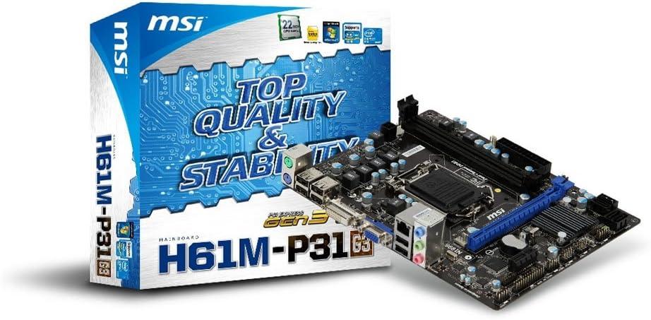 MSI Intel H61 (B3) DDR2 1333 Intel - LGA 1155 Motherboard H61M-P31 (G3)