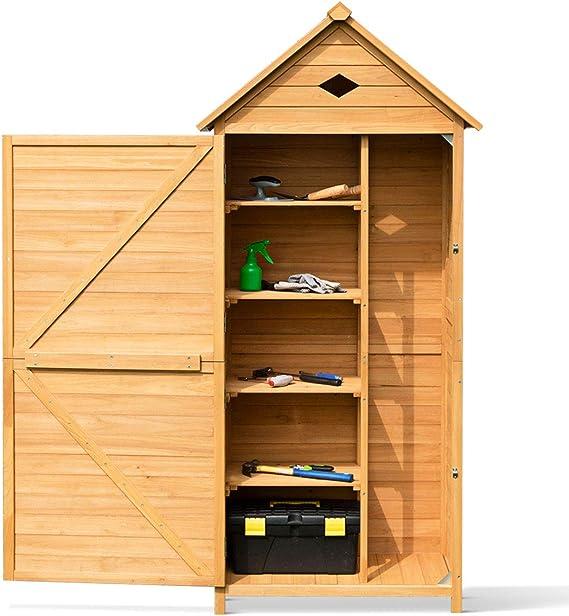 Goplus - Caseta de jardín para almacenamiento, herramientas de madera, armario para exteriores de jardín para herramientas, 70 x 35, 5 x 176 cm: Amazon.es: Jardín
