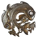 it's cactus – metal art haiti Fish Metal Wall Hanging Decor, Fishermans Hanging Art Handmade in Haiti from Reycled oil drums 23″ x 23″ For Sale