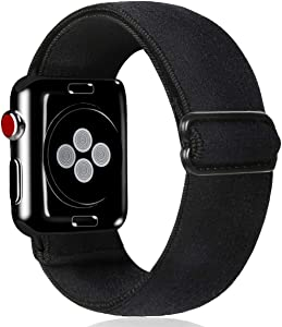 Kraftychix Adjustable Elastic Watch Band Compatible with Apple Watch /42mm/44mm,Soft Stretch Bracelet Women Strap Replacement Wristband for Iwatch Series SE/6/5/4/3/2/1(Black,42/44MM)