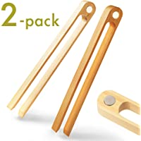 Magnetic Bamboo Toaster Tongs: 100% Natural 8.7€ Wood Kitchen Toast Tongs| Eco-Friendly, Space Saving Modern Kitchen Accessory for Home Restaurant | Set of 2