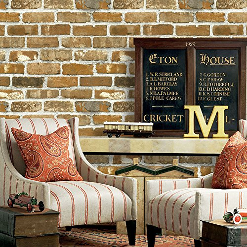 YT403 Faux Brick Wallpaper Roll,3D Vintage Brick Panel Wallpaper for Bedroom Living Room Cafe Bar Wall Decoration 393.7in×20.9in