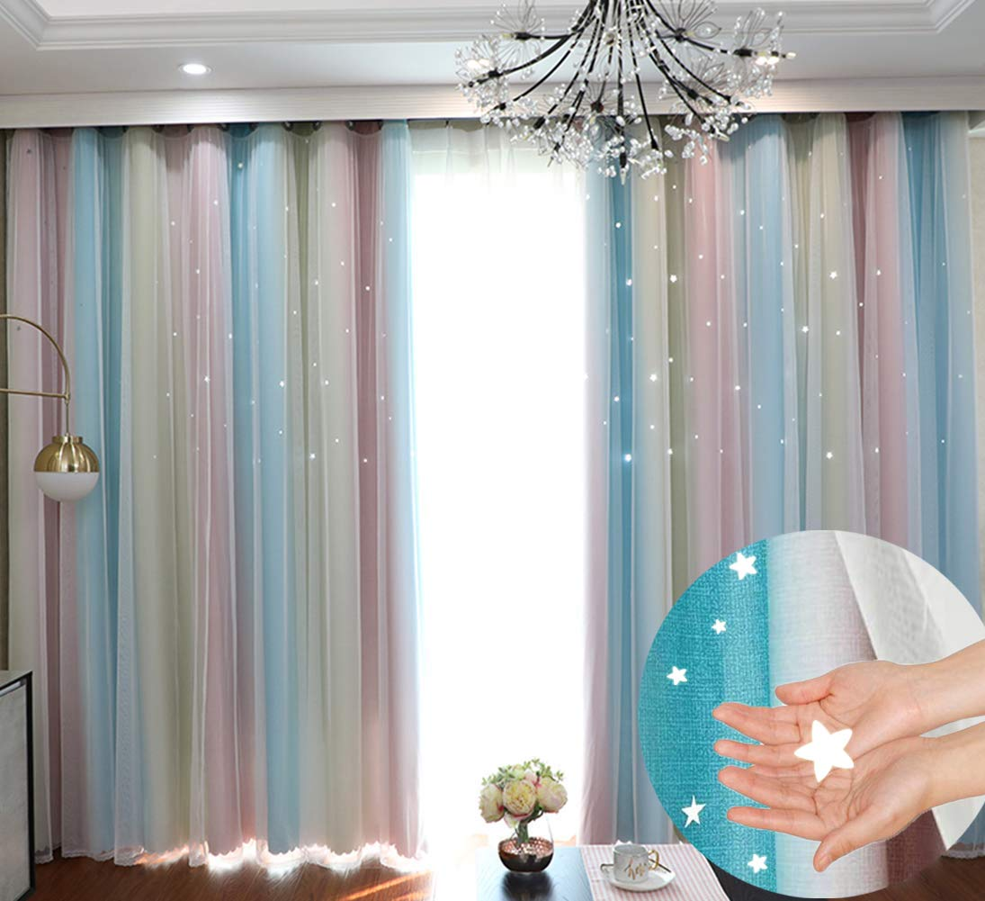 Hughapy Star Curtains Stars Blackout Curtains for Kids Girls Bedroom Living Room Colorful Double Layer Star Cut Out Sparkle Blackout Window Curtains, 1 Panel - (52W x 63L Inch, Rainbow)