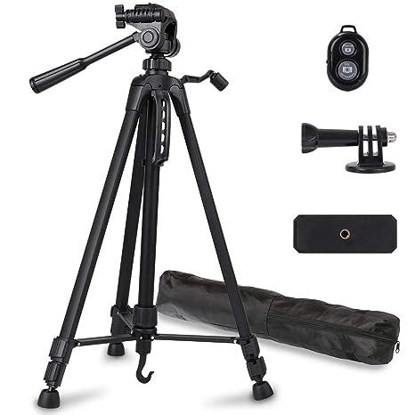 Phinistec 140cm Aluminium Dreibein Kamera Stativ für Handy, iPhone, DSLR, Kamera, Gopro mit Smartphone Halterung und Bluetoot