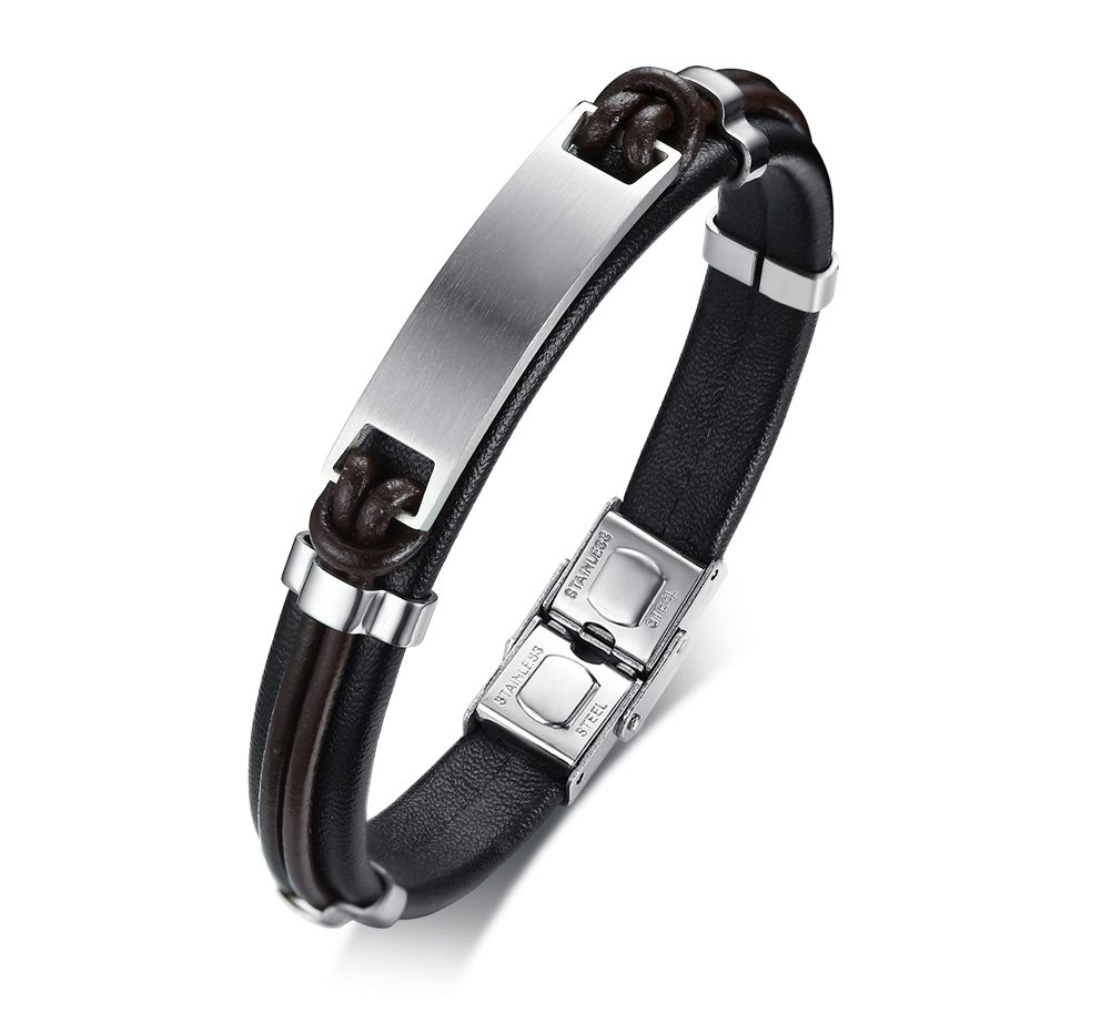 Free Engraving Stainless Steel Nameplate Custom Men's ID Leather Bracelets for Men, 8.4''