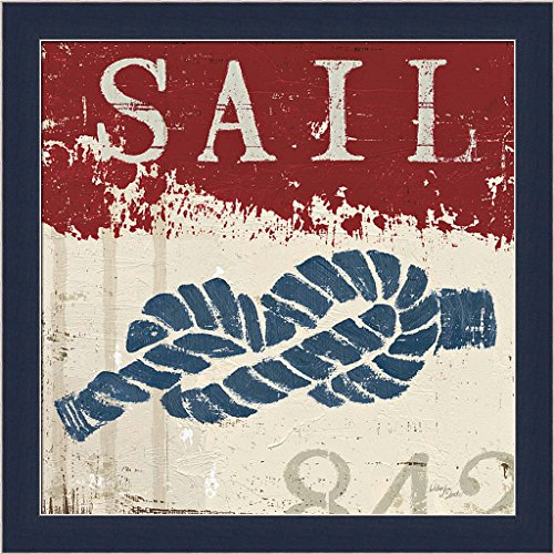 Nautical III Red Wellington Studio Sail Knot Navy Blue Art Print Framed Picture Wall Décor Artwork