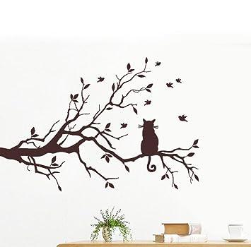 Decoración para el hogar habitación, Coper gato sobre larga rama de árbol adhesivo decorativo para pared animales gatos decorativo para decoración de la ...