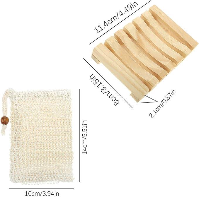 Ruggito - Juego de 4 jaboneras hechas a mano de pino natural con bolsa exfoliante de jabón, jabonera natural y jabonera de madera antideslizante para regadera, jabonera de madera: Amazon.es: Hogar
