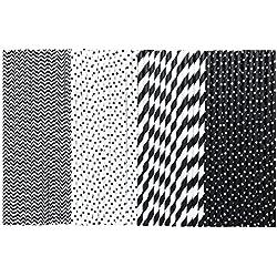 Paper Straws - Black and White - Stripe Chevron Polka Dot - 7.75 inches - Bulk 500 Pack - Outside The Box Papers Brand
