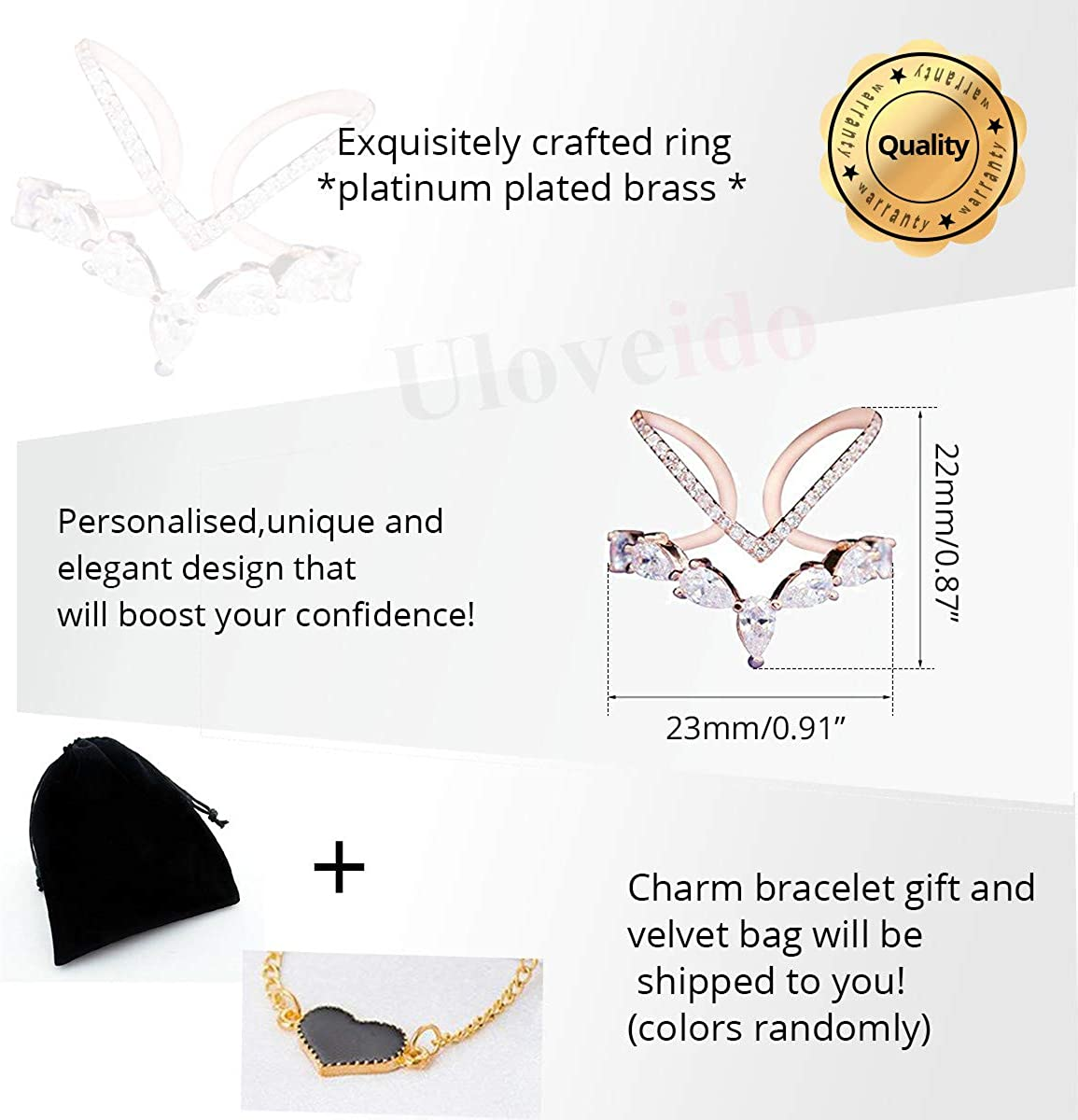 Uloveido V Shape Adjustable Size Princess Crown Ring White//Rose Gold Plated Oval Cubic Zirconia Anniversary Wedding Ring for Women Girls JZ157