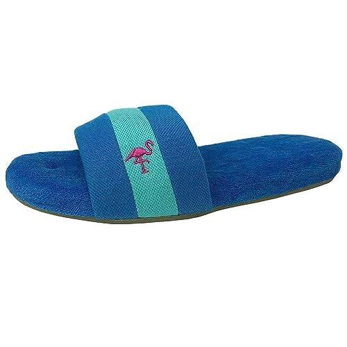 Isotoner Mujeres Memoria Cabanas Resort Espuma Interior Tamaño/Exterior Zapatillas Azules: Medio (7