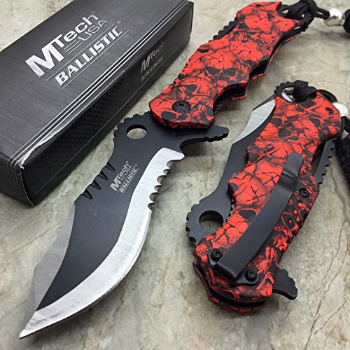 M-tech Assisted Opening Rescue Red Skull Design for Hunting or Camping Tatical Pocket Knife 3.5