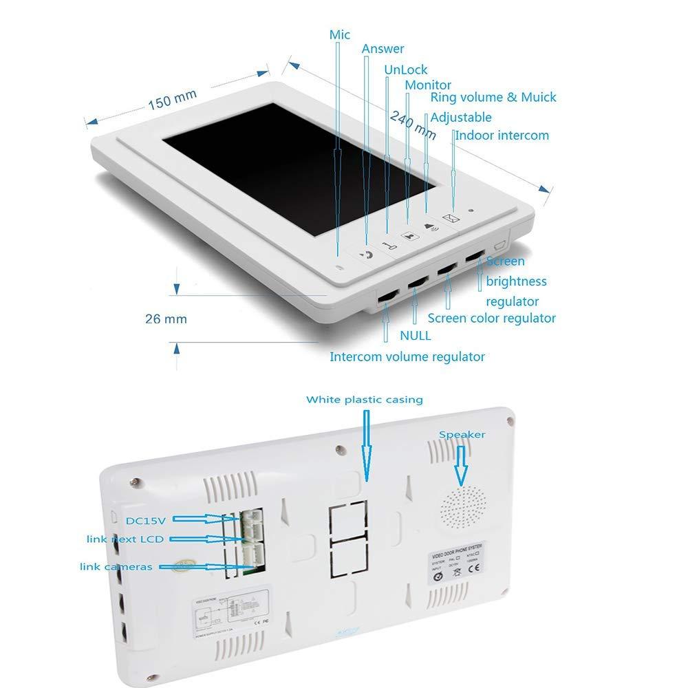 YUYUKUAILAI Telecamera a infrarossi Intelligente da 7 Pollici con videocitofono e Sistema di Controllo degli accessi con Telecomando HD 1000TVL,2