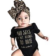 Lanhui Newborn Baby Girls Letter Romper Jumpsuit Headband Outfits Clothes Set (Black, 3Months)