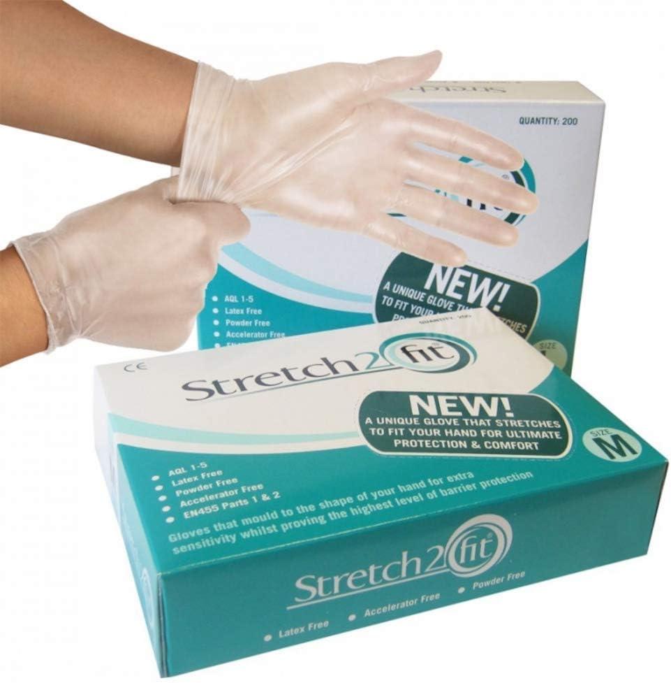 Lebensmittelzubereitung Puder- und latexfrei Schachtel mit 200 Einweg- und recycelbaren Vinylhandschuhen Small durchsichtig allergiefrei T/ätowierung Arbeitsschutz Reinigung NHS