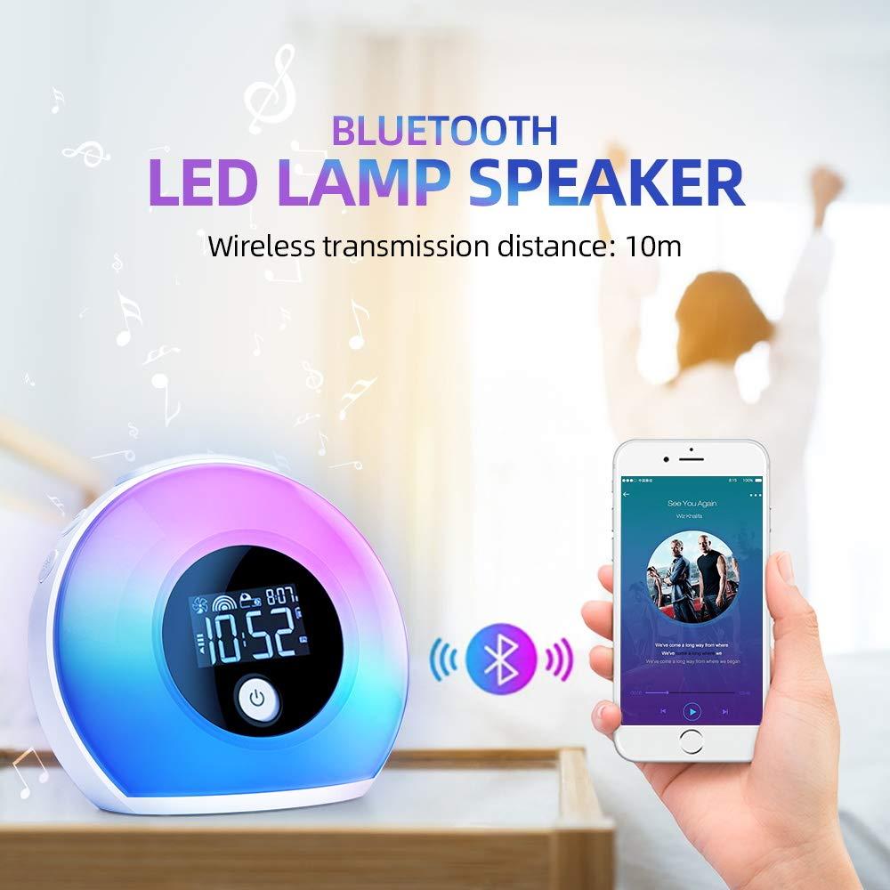 LED Luces Despertador luz Nocturna Powcan Wake Up Light Despertador Luz Luz colorida con altavoces Bluetooth und Modo de inducci/ón para Adulto,Ni/ño,Dormitorio