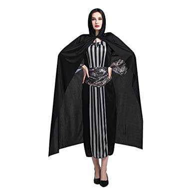 Amazon.com  Attuosun Black Cloak Unisex Full Length Hooded Cloak ... 25c3a8662