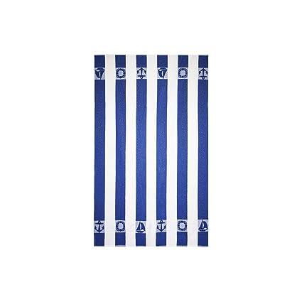 Barceló Hogar Toalla Playa Listas Rizo 100x170 cm 100Percent_algodón, 11 Azul