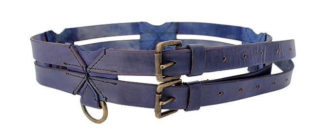 7e201f74777f59 LARP Doppelgürtel aus Leder Mittelalter Gewandung Ledergürtel doppelt mit  Ringen (Blau)