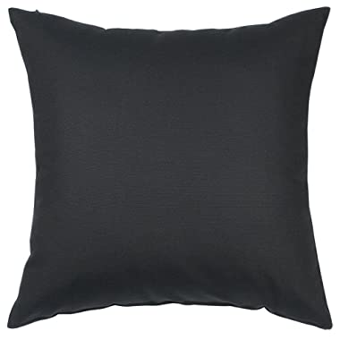 TangDepot Cotton Solid Throw Pillow Covers, 12  x 12  , Charcoal Gray