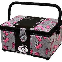 Singer 57261 Vintage Sewing Baskets, Large, Pink/Black