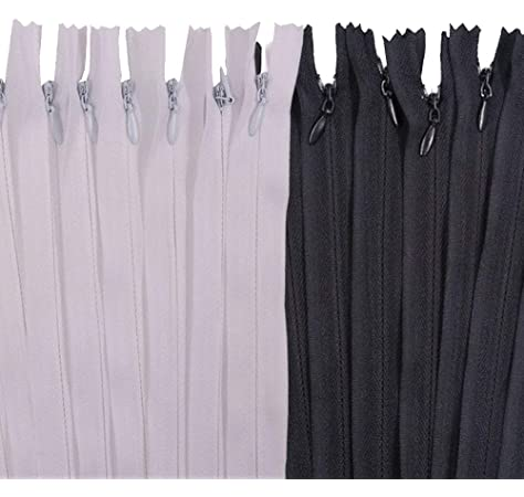 Sewing Crafter Meillia 40PCS 18 Inch Black and White Invisible Zippers Bulk for Tailor 18 40pcs Sewing Craft Sewer