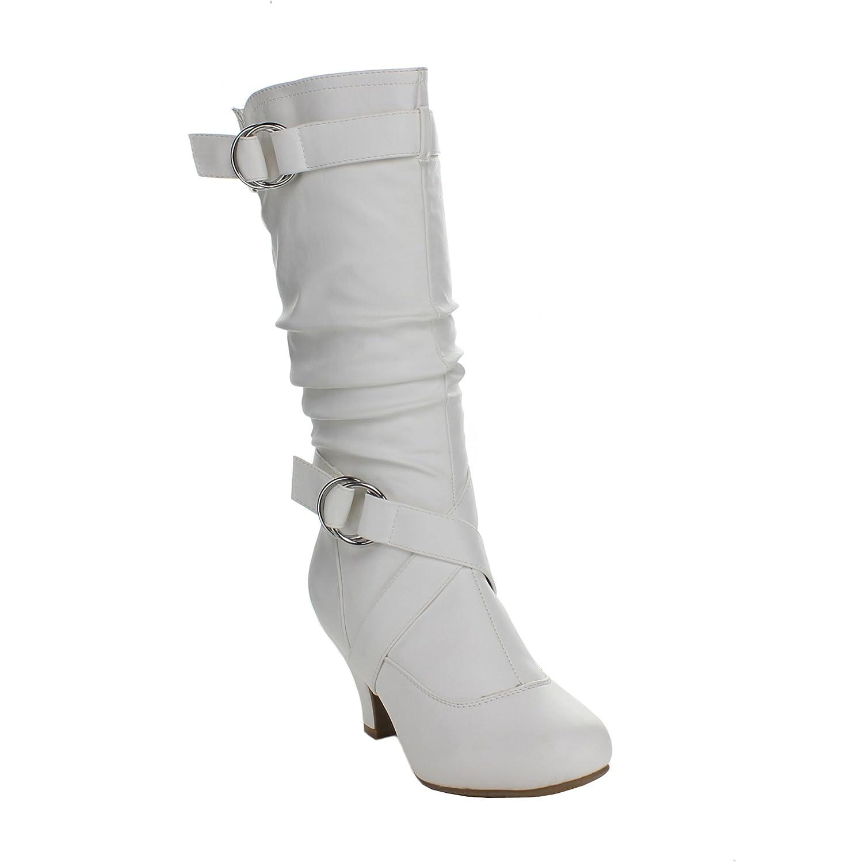 8b9131ba41f Top Moda AUTO-2 Women's Knee High Buckle Slouched Kitten Heel Boots