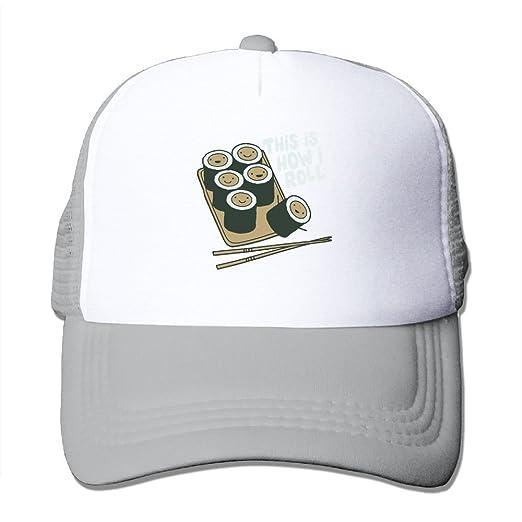 43cc6d51723ba Amazon.com  How I Roll Sushi Mesh Trucker Caps Hats Adjustable For ...