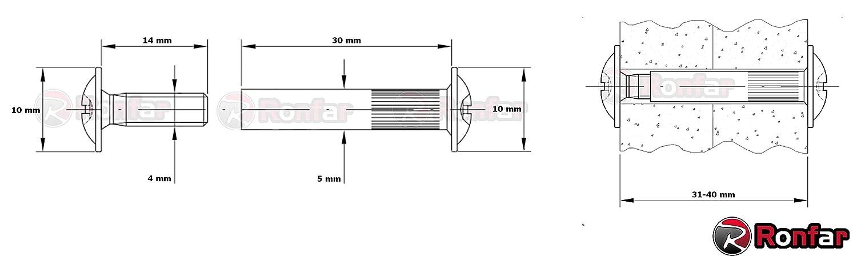 RONFAR M/öbelschrauben H/ülsenschrauben Verbindungsschraube mit H/ülse Stahl vernickelt M4 x 31-40 mm 100 St/ück