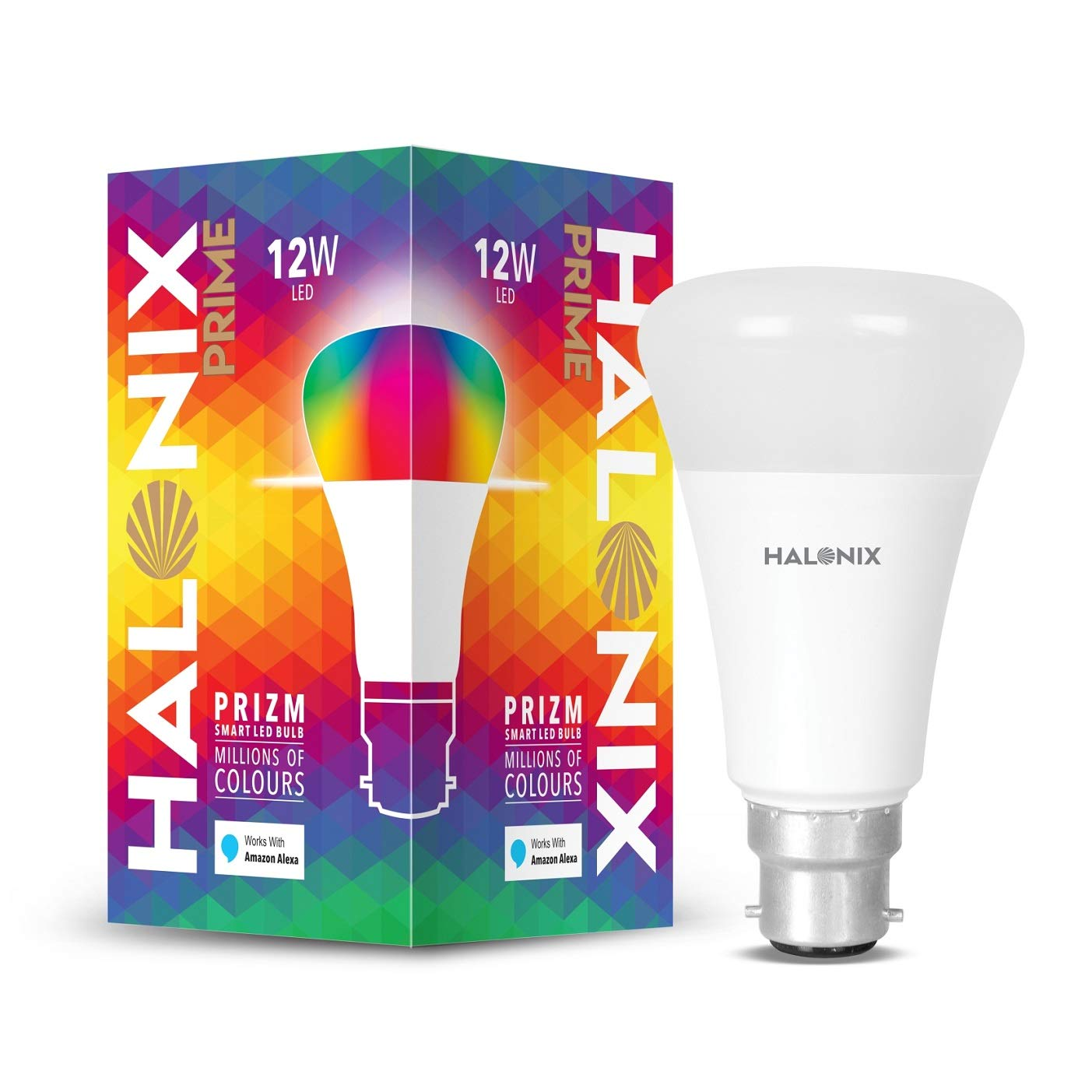 Halonix Wi-Fi Enabled Smart LED Bulb 12W B22 (16 Million Colors + Warm White/Neutral White/White) (Compatible with Amazon Alexa and Google Assistant)