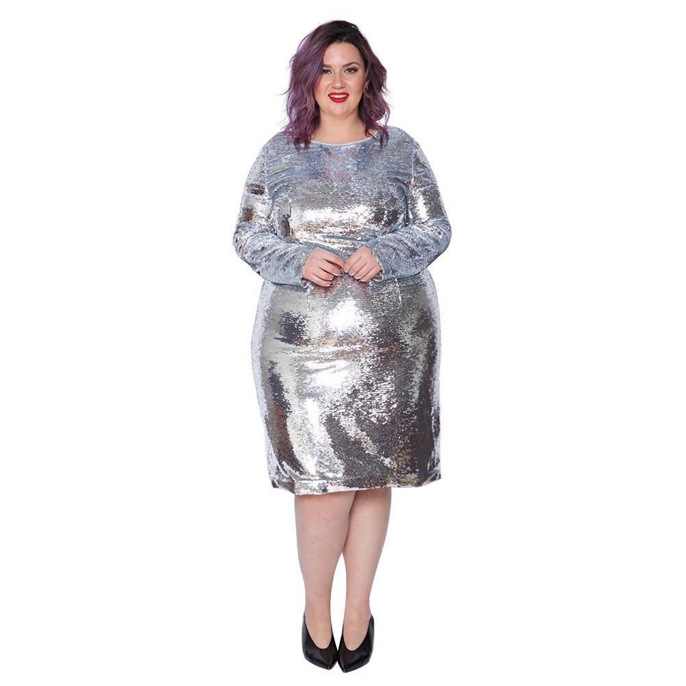 94f76e1040b Astra Signature Women's Plus Size Glitter Long Sleeve Bodycon Andromeda Sequin  Dress at Amazon Women's Clothing store: