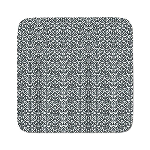 Cozy Seat Protector Pads Cushion Area Rug,Damask,Monochrome Revival Pattern Natural Inspiration Organic Foliage Victorian Decorative,Cream Charcoal Grey,Easy to Use on Any (Grey Revival Toilet Seat)