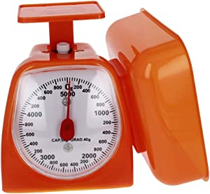 Utoolmart Mechanical Kitchen Scale - Diet Food Scale - with Pounds & Kilogram Measurements - Measuring Range 5000g Accuracy 5g with Tray Orange 1pcs