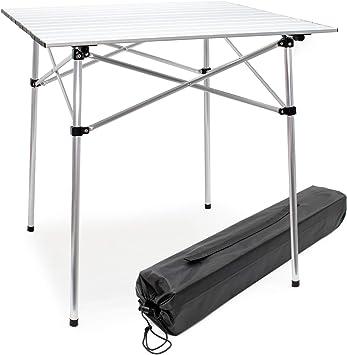 WilTec Mesa Enrollable de Aluminio para Camping Tablero 70x69cm Bolsa de Transporte Outdoor Picnic Acampada