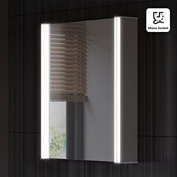 450 X 600 Mm Illuminated LED Bathroom Mirror Cabinet With Shaver Socket MC138