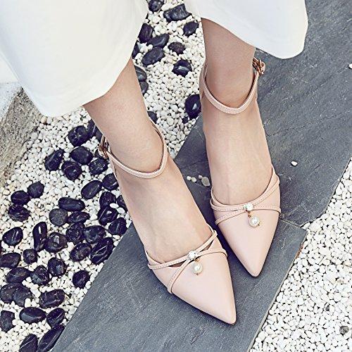 Femmes Rose Calaier Pointu Bout Chaussures 6cm Sandales De Stiletto Boucle zzwx15rq