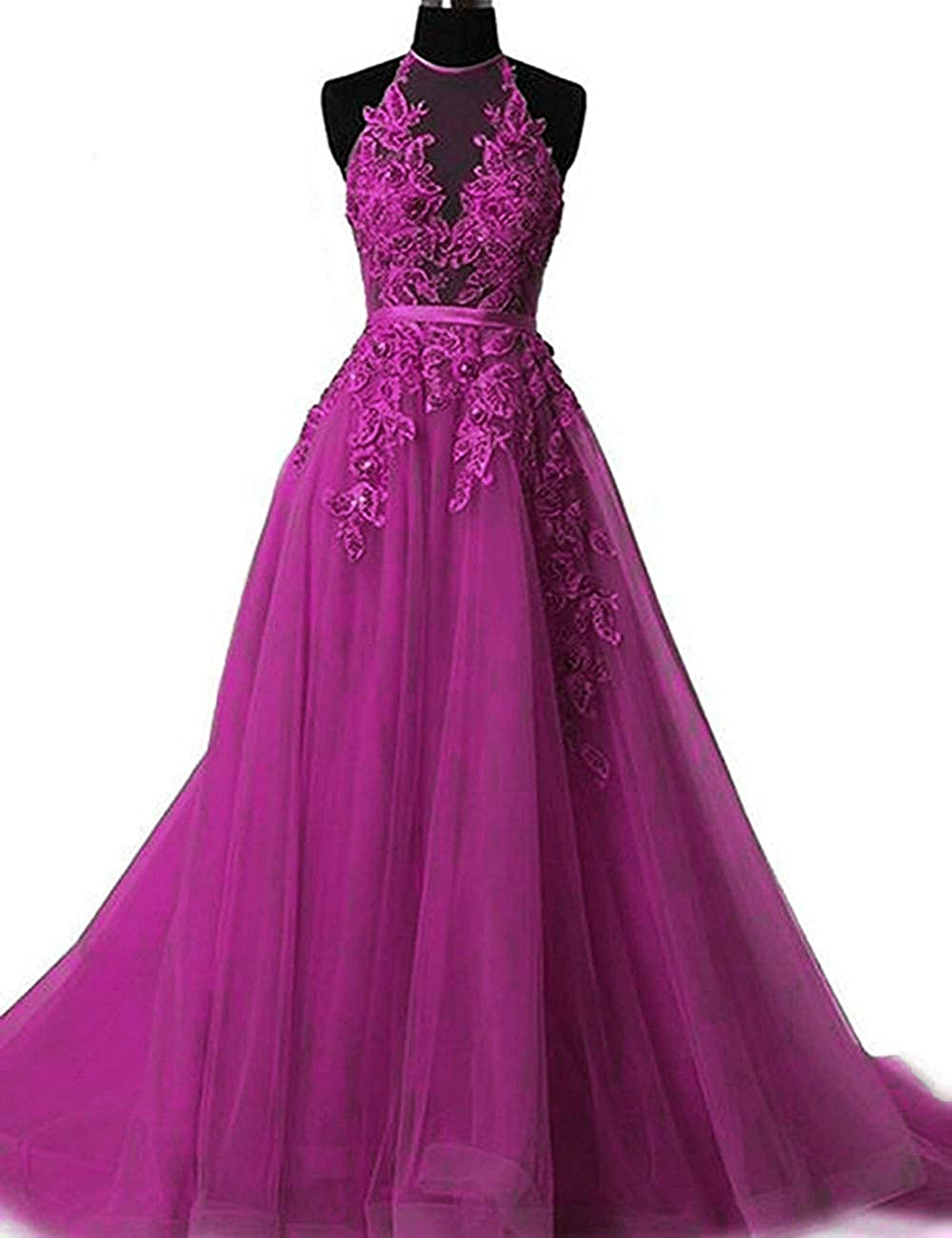 Fuchsia Liaoye Women's Halter Lace Prom Dresses Long Formal Party Gown 2019 Backless Evening Dress for Weddings