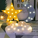 Decorative LED Crescent Moon Cloud Star Night Lights for Kids Girls and Adults, Nursery Night Lamp Gift for Children Baby Roo