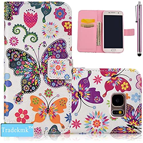 Galaxy S7 Edge Case,S7 Edge Case, Tradekmk(TM);PU Leather Stand And Card Holders Wallet Phone Case For Samsung Galaxy S7 Edge, (+Stylus+Screen Sales