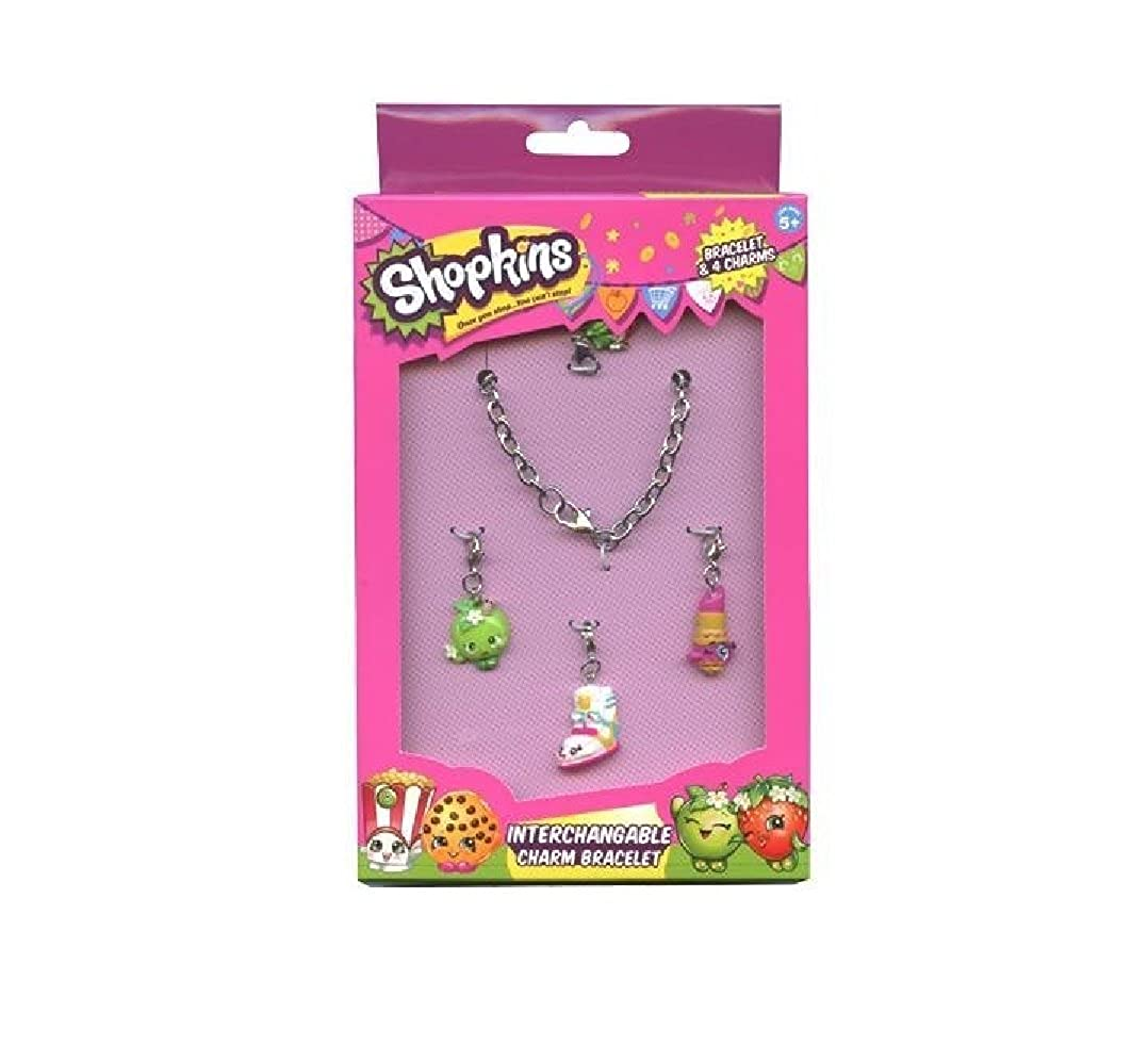 Shopkins Girls Painted Polly Painted Straw/Wedge/Apple/Lip Interchange Ch Set (Interchangeable Charm Bracelet) - Assorted Characters World Trade Jewelers SKW-0578B-AS