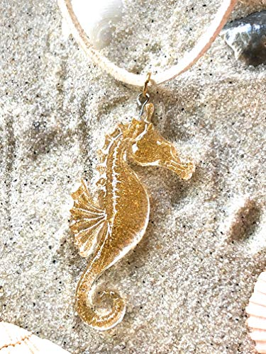 (Love's Surf Gems Seahorse Choker- Beach Jewelry Summer Accessories Surfer Jewelry Resin Jewelry Seahorse Pendant (Coronado, White))