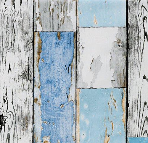 Klebefolie Möbelfolie altes Holz - Scrapwood blue - Dekorfolie Holzoptik 45 x 200 cm - Selbstklebefolie Holzdekor Vintage