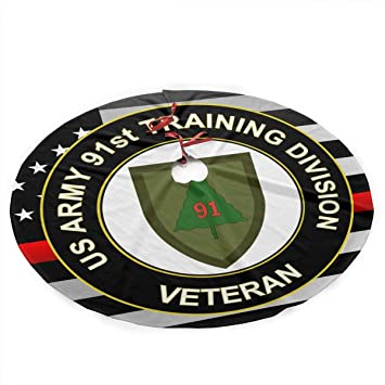 US Army Veteran 91ST Training Division Thin Red Line Flag Christmas Tree Skirt Holiday Decorations