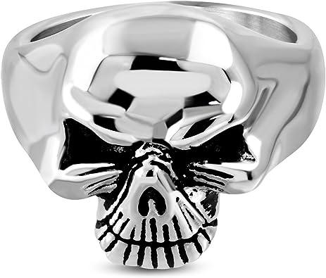 Stainless Steel 2 Color Ghost Skull Pattee Cross Biker Ring