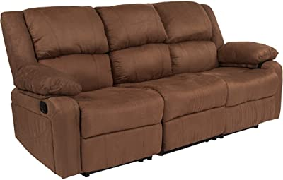 Offex Chocolate Brown Microfiber Upholstered Recliner Sofa Pillow Back Cushion