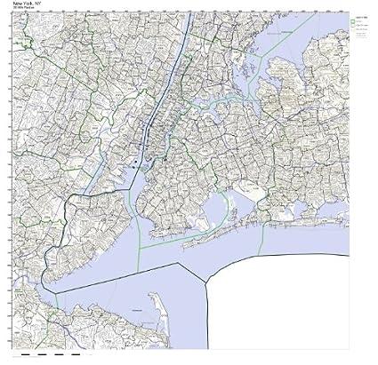 Amazon Com New York Ny Zip Code Map Not Laminated Home Kitchen