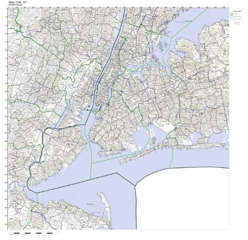 New York, NY ZIP Code Map Laminated (New York Zip Code Map)