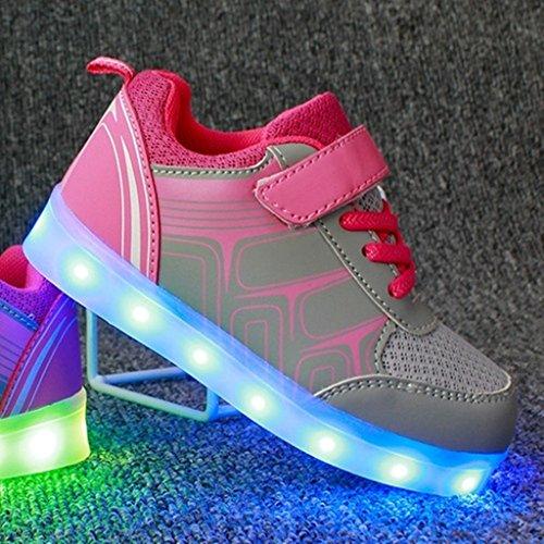 Zapatos Carga Color Rosa Luces Negras Más Hombres Grande Usb Zapatillas 1 Luminosos Mujeres Para Deportivos 7 Tamaño elegir Led Dogeek Blanco dRg1vwxSqd